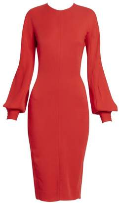 Victoria Beckham Slash Sleeve Fitted Midi Dress