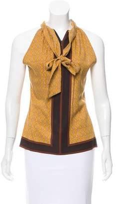 Michael Kors Printed Tie-Neck Blouse