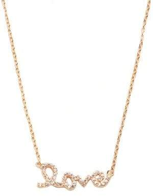 Lord & Taylor Pave Love Script Necklace