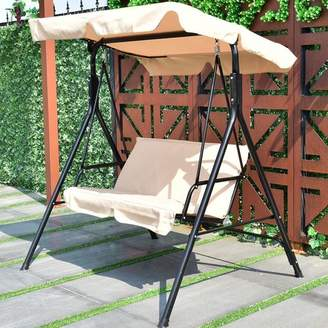 Winston Porter Priory Patio Loveseat Canopy Hammock Porch Swing with Stand Cushion