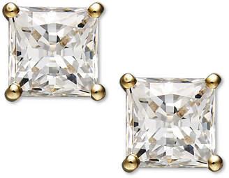 Arabella 14k Gold Earrings, Swarovski Zirconia Princess Cut Stud Earrings (2-3/4 ct. t.w.)