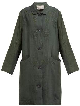 By Walid Cedric 1920s Linen Coat - Womens - Green