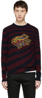 Paul Smith Burgundy and Navy Wool Frog Sweater