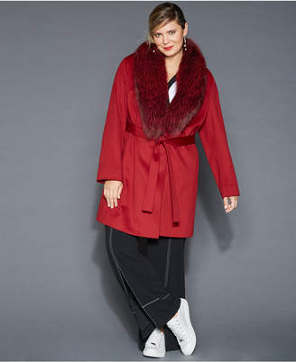 The Fur Vault Plus Size Fox-Fur-Collar Wool Coat