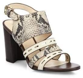 Cole Haan Lavelle Snake-Print Leather Block Heel Slingbacks