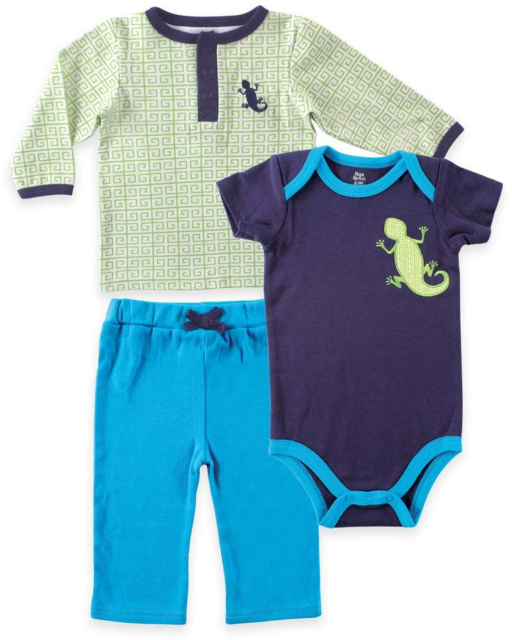 Baby Vision Yoga Sprout Size 9-12M Long Sleeve Top, Pant, and Lizard Bodysuit in Blue/Green