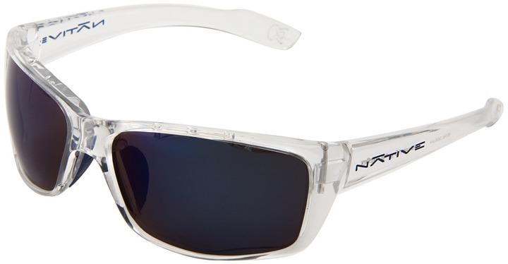 Native Eyewear - Wazee (Crystal/ Blue Reflex (Gray) Lens) - Eyewear