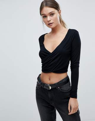 PrettyLittleThing Wrap Crop Top