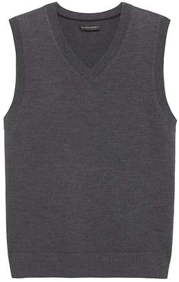 Banana Republic Extra-Fine Italian Merino Wool V-Neck Sweater Vest