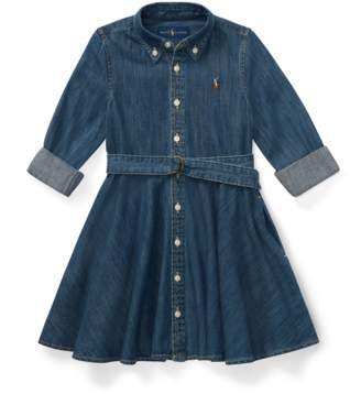 Ralph Lauren Kids Belted Cotton Denim Shirtdress