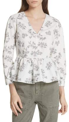 Rebecca Taylor Camille Floral Peplum Top