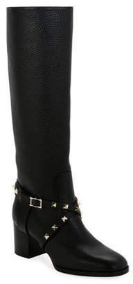 Valentino Rockstud Pebbled Knee Boots
