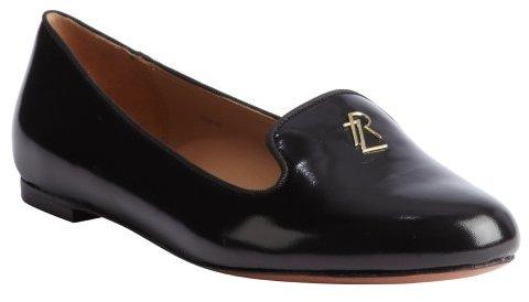 Rachel Zoe black leather 'Zahara' logo loafers