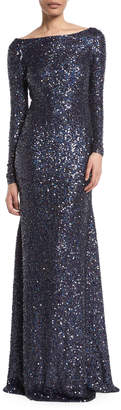 Naeem Khan Long-Sleeve Low-Back Sequin Evening Gown