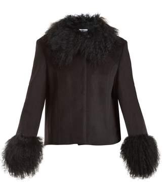 SAKS POTTS Dorthe fur-trimmed wool jacket
