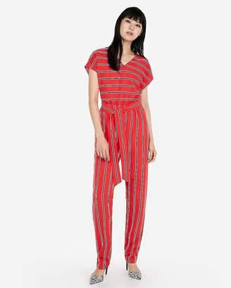Express Stripe V-Neck Short Sleeve Jumpsuit