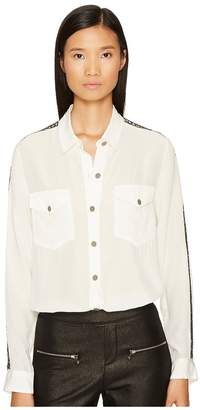 The Kooples James Shirt with Stripe Along The Arm Women's Clothing