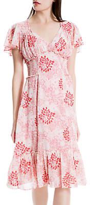 Max Studio Frill Sleeve Print Dress, Pink