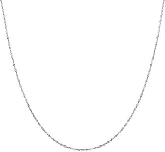 Everlasting Gold 14k White Gold Singapore Chain Necklace