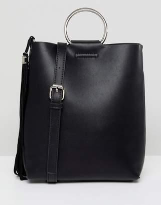 Street Level Black Ring Detail Cross Body Bag