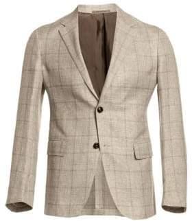 Ermenegildo Zegna Men's Windowpane Check Two-Button Blazer - Beige - Size 58 (48) R
