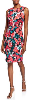 Calvin Klein Dark Floral Sheath Scuba Dress