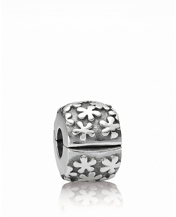 Pandora Clip - Sterling Silver Flowers, Moments Collection
