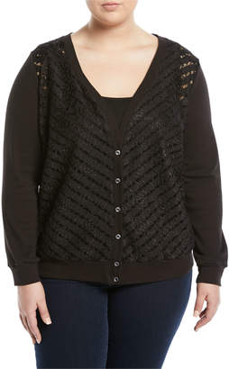 Three Dots Plus Striped Lace-Front Cardigan, Plus Size