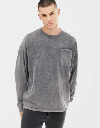 Asos DESIGN oversized longline long sleeve t-shirt with pocket in extreme acid wash in gray