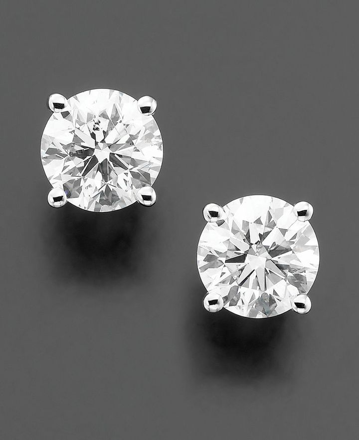 Diamond Earrings, 14k White Gold Certified Near Colorless Diamond Studs (1-1/4 ct. t.w.)