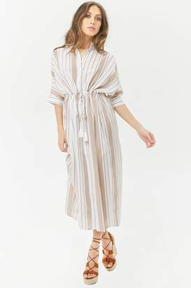 Forever 21 Striped Woven Button-Front Maxi Dress