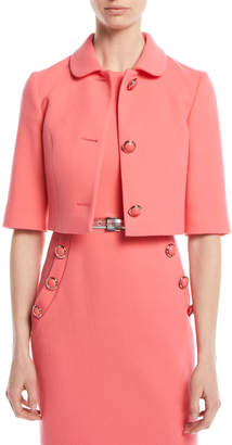 Michael Kors Three-Button Stretch-Boucle Crepe Cropped Jacket