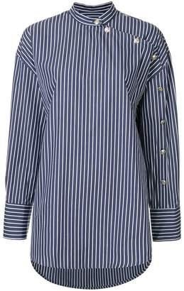 MSGM striped mandarin collar shirt