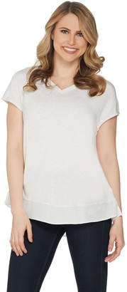 Halston H By H by Extended Shoulder V-Neck Top with Side Slits