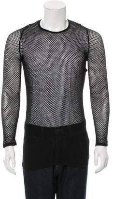 Saint Laurent Open Knit Crew Neck Sweater