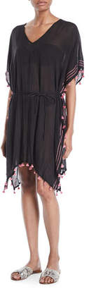 Seafolly Embroidered Coverup Caftan Dress with Mini Tassels, One Size
