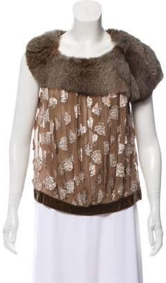 Louis Vuitton Fur-Trimmed Silk Top w/ Tags