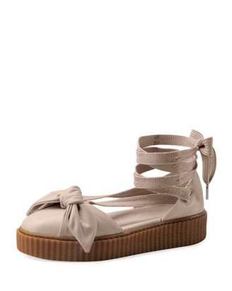 FENTY PUMA by Rihanna Leather Bow Creeper Sandal, Pink Tint