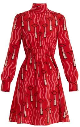 Valentino Lipstick Print Silk Crepe Dress - Womens - Red Print