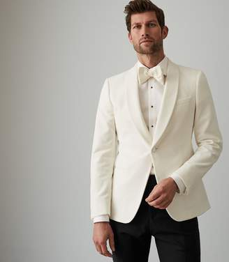 Reiss JACK VELVET SHAWL COLLAR BLAZER White