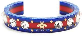 Gucci Web crystal-embellished Plexiglas cuff