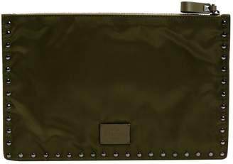 Valentino Khaki Cloth Clutch Bag