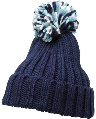 Onfire Womens Rib Hat With Pom Pom Navy