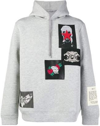 John Richmond patch-work hooded sweatshirt