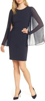 Harper Rose Pleated Chiffon Long Sleeve Scuba Crepe Cocktail Dress