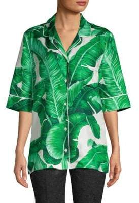 Dolce & Gabbana Printed Silk Button-Down Shirt