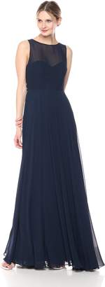 Jenny Yoo Women's Elizabeth Chiffon Illusion Neckline Open-Back Long Gown
