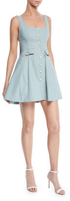 Alexis Nena Square-Neck Button-Front Short Dress