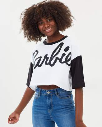 Missguided Barbie Contrast Crop T-Shirt