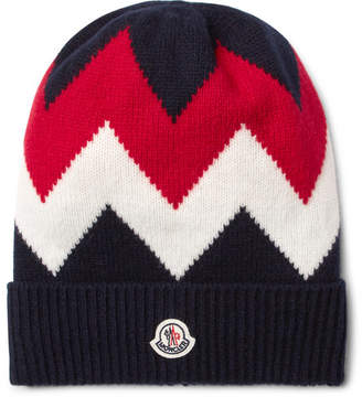 Moncler Tricot Intarsia Wool And Cashmere-Blend Beanie